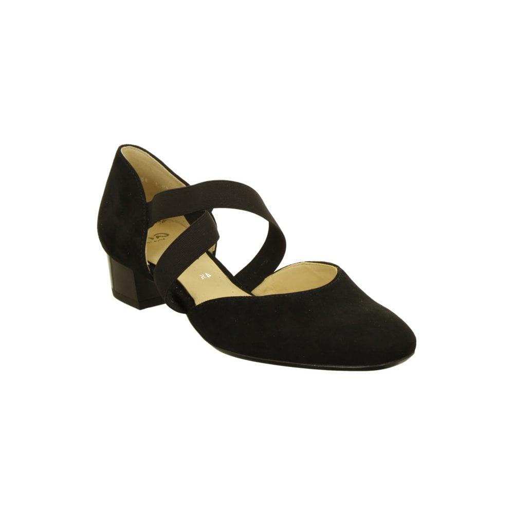 36831 Ara Elastic Crossover Strap Low Heeled Court Shoe
