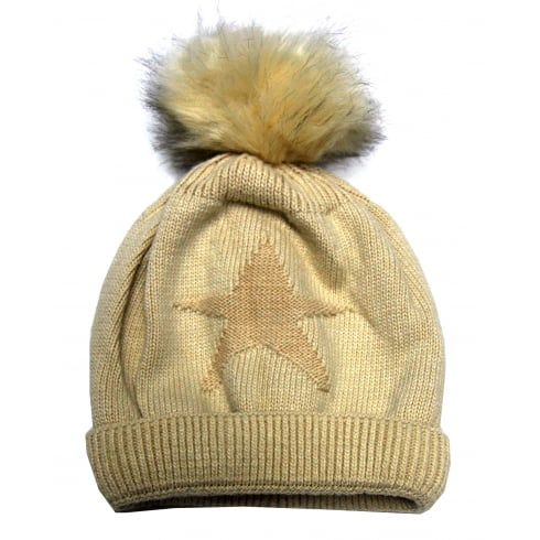 Something For Me Cream Star Something For Me Bobble Hat - 391205