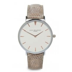 Elie Beaumont Mock Croc Skin Leather Strap Watch - Sloane