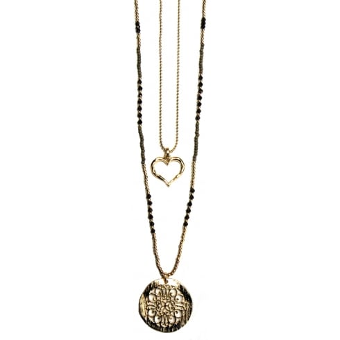 Envy Jewellery Gold Long Double Chain Envy Necklace with Disc