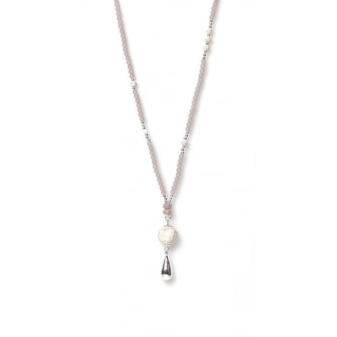 Envy Jewellery Grey Long Beaded Envy Necklace with Droplet