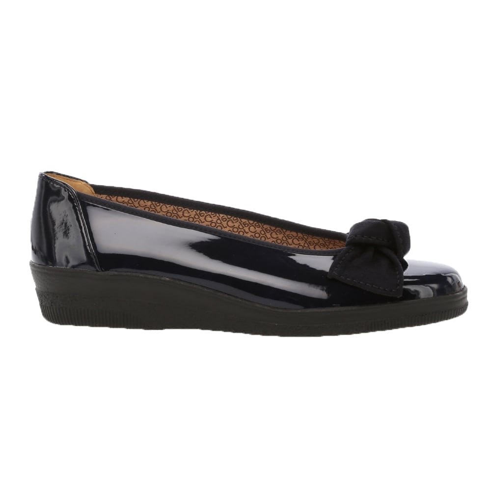 d7326ce13178a Gabor Lesley: Wide Fit Ballerina bow pumps in black or navy patent