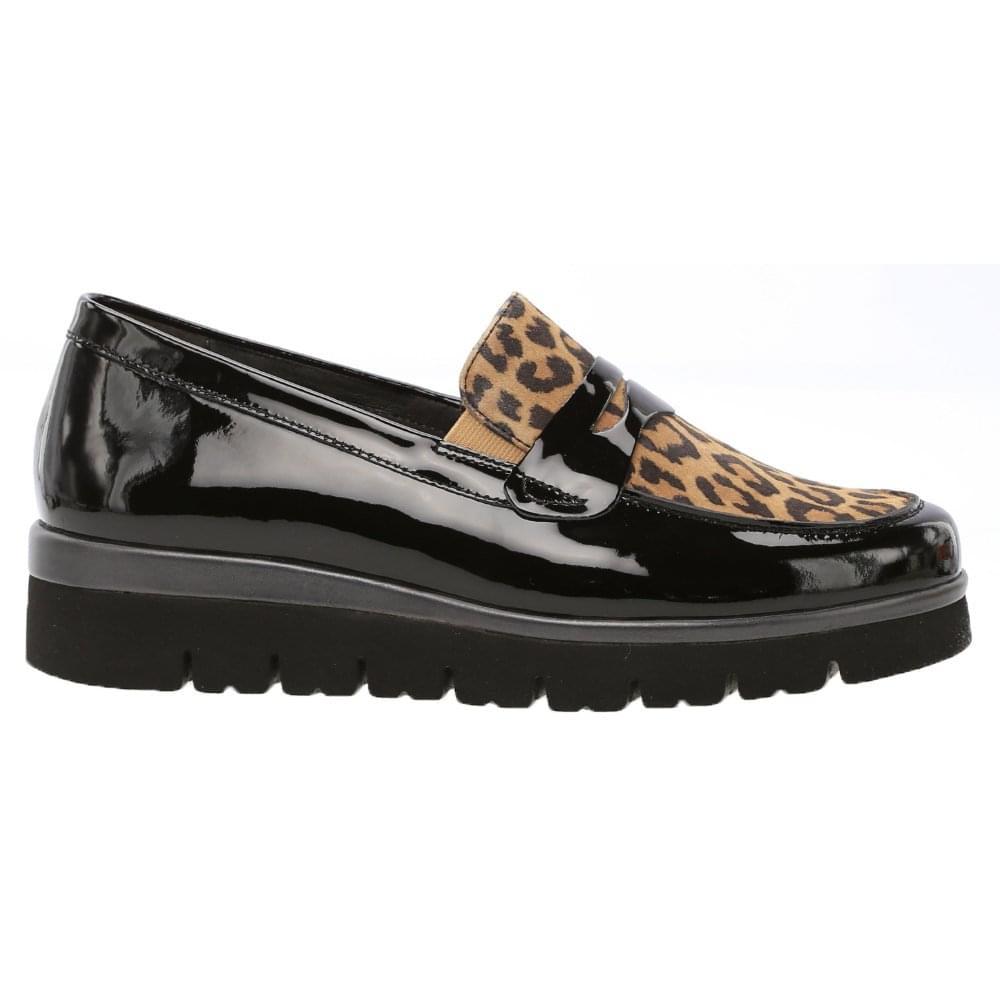 d3ba94eca5e7 Gabor: Boston patent black leopard print loafers with apron front