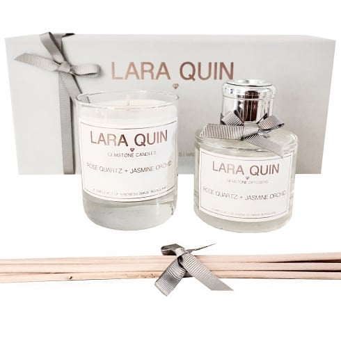 Lara Quin Luxury Candle Gift Set | ROSE QUARTZ + JASMINE ORCHID