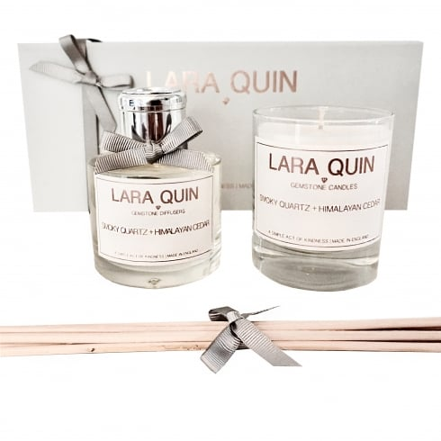 Lara Quin Luxury Candle Gift Set | SMOKY QUARTZ + HIMALAYAN CEDAR