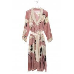 One Hundred Stars Ladies Dressing Gown - Stork Pink