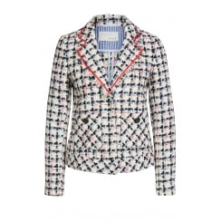 Oui Boucle Checkered Blazer Jacket - 61935