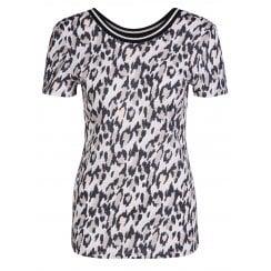 Oui Leopard Print T-Shirt - 65130