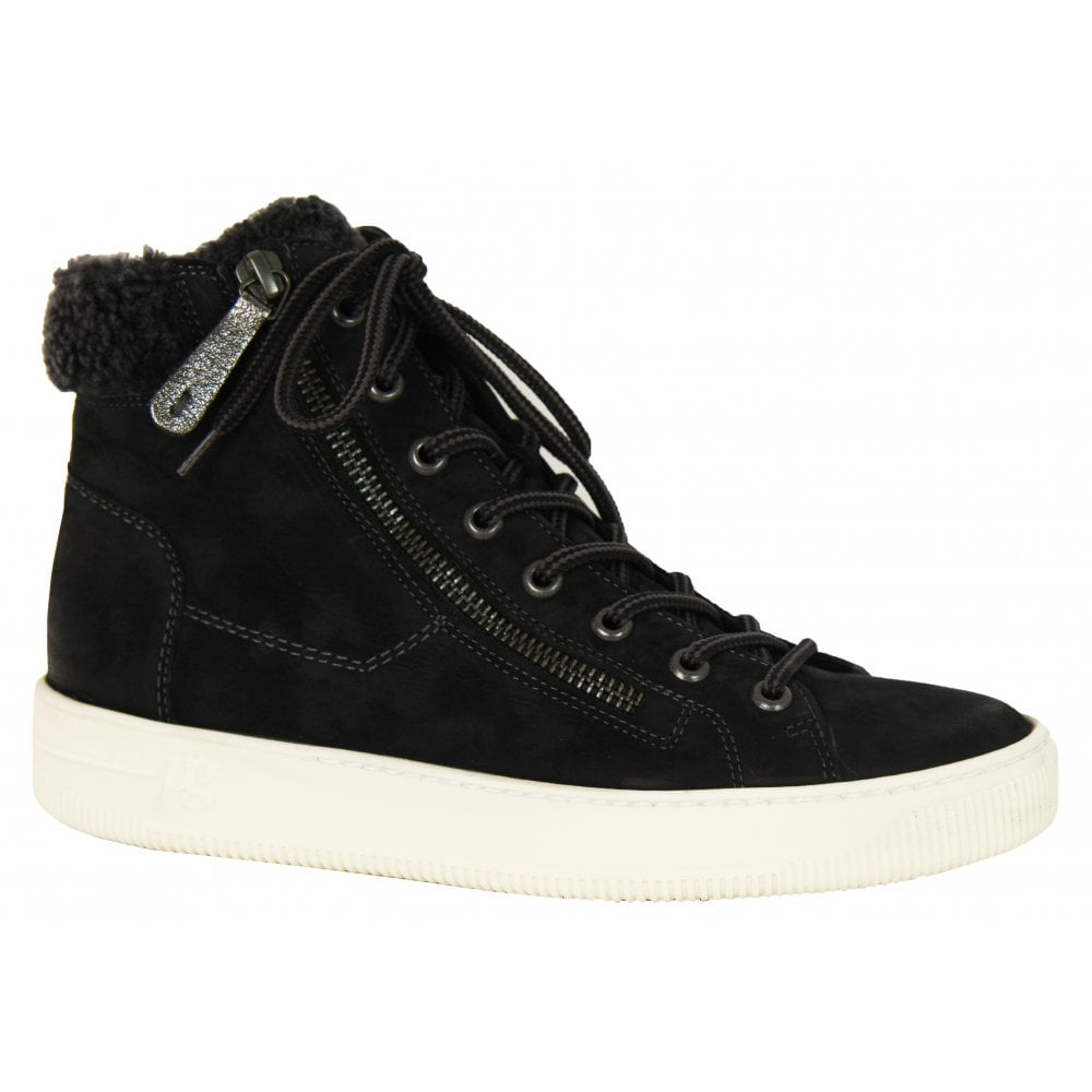 2a57930536fa5 Paul Green: 4676 suede leather tan or black fur trim high tops