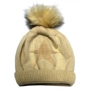Cream Star Something For Me Bobble Hat - 391205