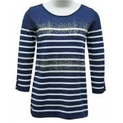 Leo & Ugo Striped and gold dust Sweater - BE407